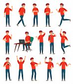 Cartoon Male Teenager Character. Teenage Boy In Different Poses And Actions. Student Man Action Pose poster