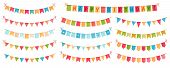 Party Bunting. Color Paper Triangular Flags Collected And Draped In Garlands, Happy Birthday Bunting poster