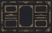 Golden Art Deco Ornaments. Arabic Antique Decorative Gold Border, Retro Geometric Ornamental Frame A poster