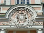 The Arms Of A Sort Sheremetev On A Pediment Of The Main Palace In Ancient Manor Kuskovo In Moscow poster