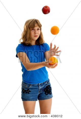 Teen Juggling Apple And Orange 3