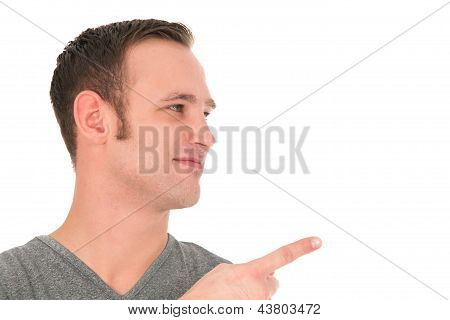 Smiling Man Pointing His Finger