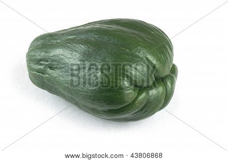 Single Dark Green Chayote On White Background.