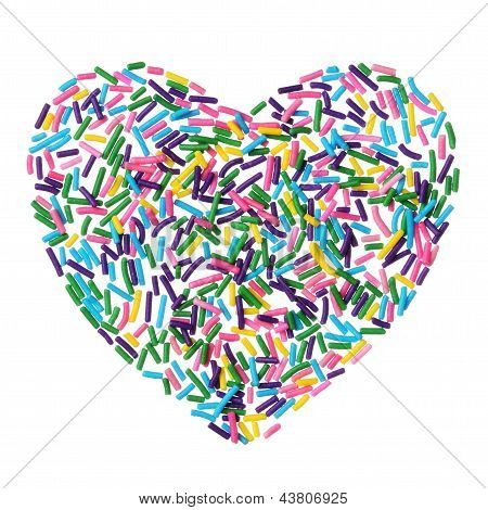 Colorful Candy Sprinkles Heart Isolated On White Background
