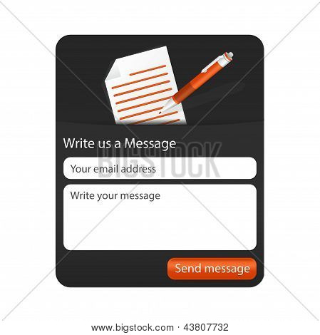 Dark Contact Form With Light Paper And Orange Ballpoint. Element For Websites And Mobile Application