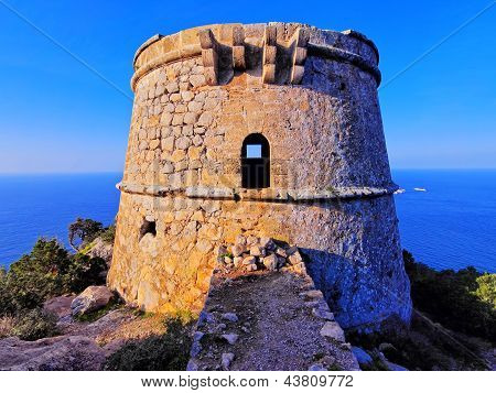 Famous Tower Of Savinar On Ibiza Island