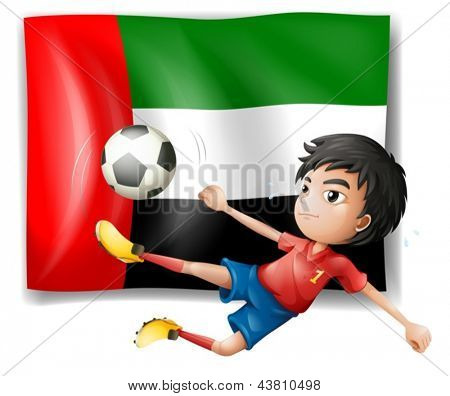 Illustration of a boy playing soccer in front of the UAE flag on a white background