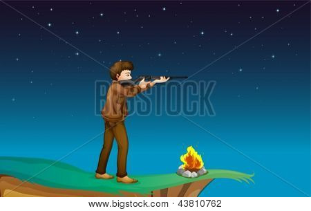 Illustration of a boy with a gun at the cliff with a campfire