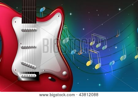 Illustration of a red electric guitar