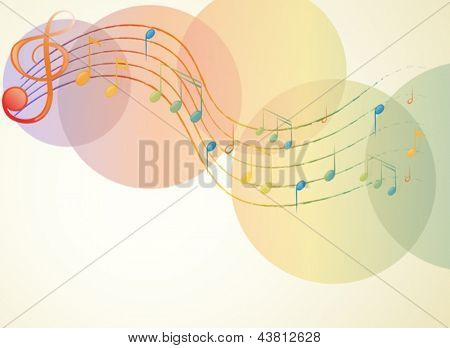 Illustration of the G-clef and the musical notes on a white background