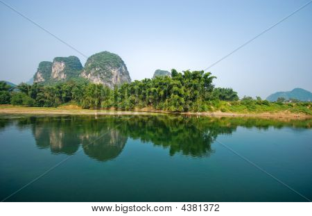 Li River And Mountins In  Guilin Yangshou China