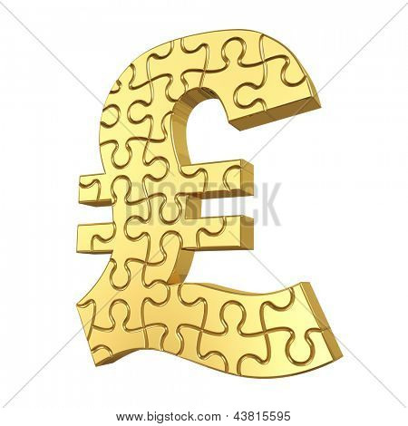 3d rendering of the puzzle pound sign in gold metal on a white isolated background.