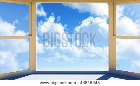 Window of opportunity  overlooking blue  sky  and beautiful summer clouds