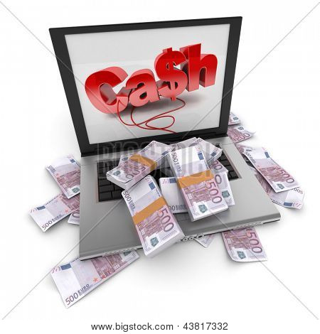 A portable computer with cash written on the screen, with the keyboard cover in five hundred euro bills