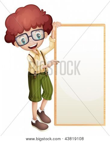 Illustration of a boy showing an empty frame on a white background