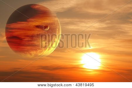 Collage - sunset in alien planet