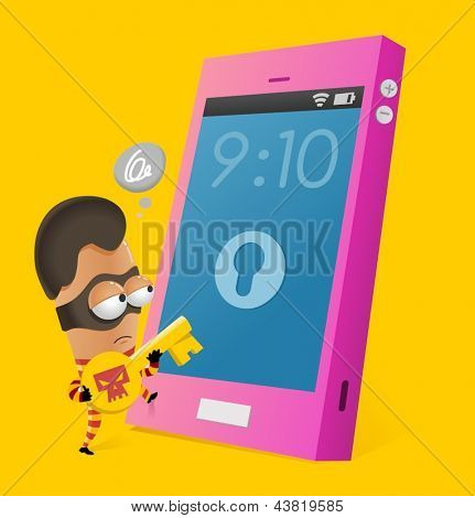 Anti-theft smartphone. Vector illustration