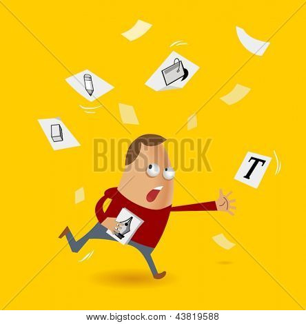 Designer in the tight deadline. Vector illustration