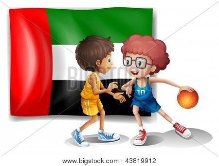Illustration of the flag of UAE at the back of the basketball players on a white background