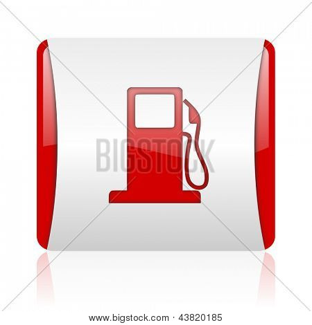 fuel red and white square web glossy icon