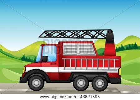 Illustration of the utility truck at the road near the hills