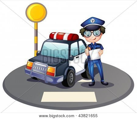 Illustration of a police officer beside his patrol car on a white background