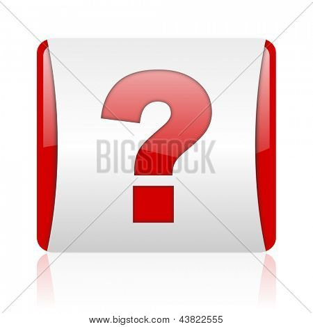 question mark red and white square web glossy icon