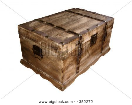 Wooden Box On White