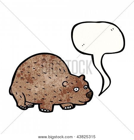 cartoon wombat with speech bubble