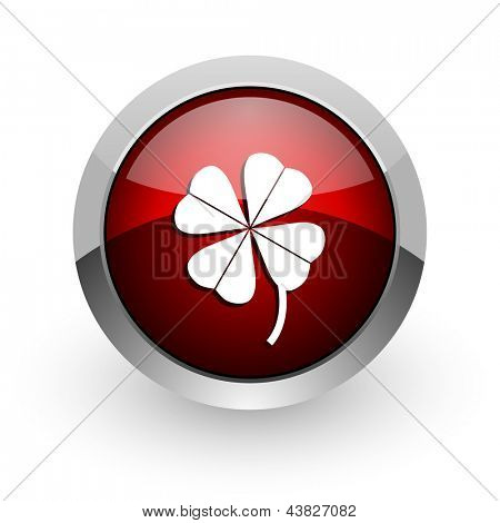 four-leaf clover red circle web glossy icon