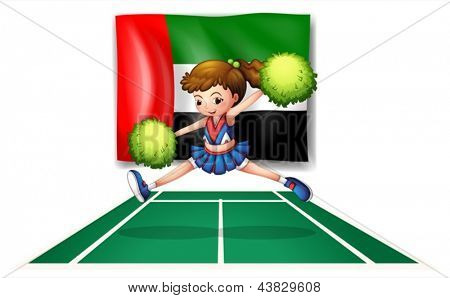 Illustration of a cheerdancer in front of the UAE flag on a white background