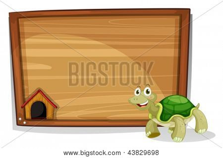 Illustration of a turtle in front of an empty board on a white background