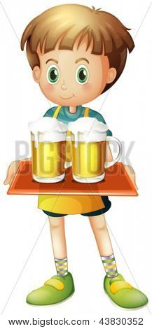 Illustration of a boy holding a tray of beer on a white background