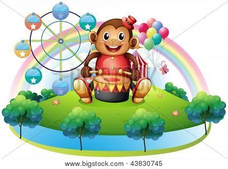 Abbildung eines musikalischen Affen nahe dem Riesenrad auf weißem Hintergrund