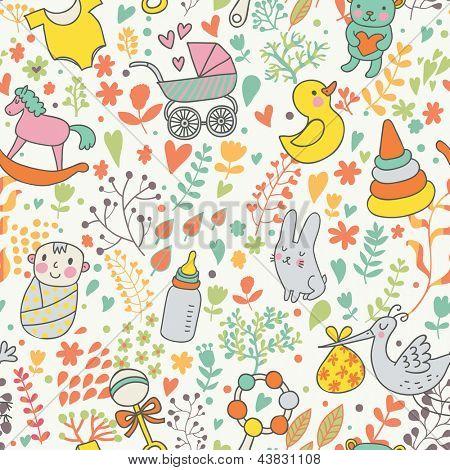 Kindheit Konzept seamless Pattern. Spielzeug, Tiere, kindliche Elemente in Vektor. Cartoon-Hintergrund.