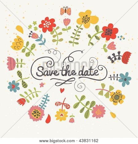 Save the date. Cute floral bright wedding invitation in vector. Vintage concept wedding card