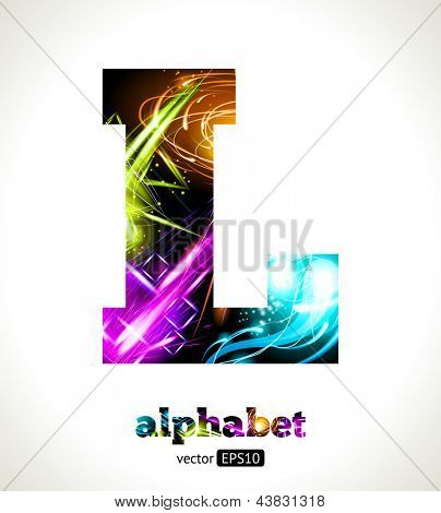 Vector Customizable Light Effect Alphabet. Design Abstract Letter L.