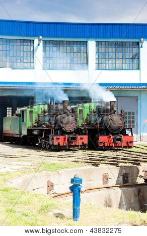 steam locomotives in depot, Kostolac, Serbia