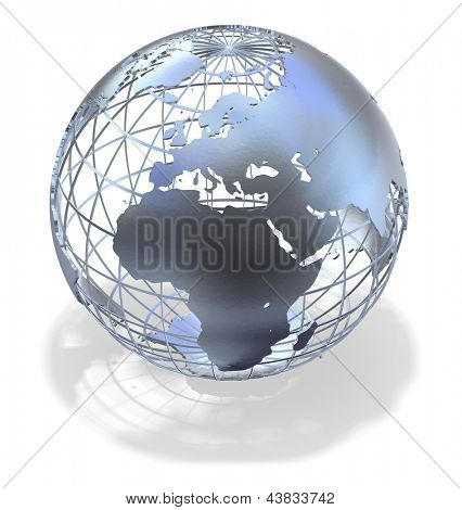 High quality 3D art showing a caged metallic structure of the earth casting a shadow over white.