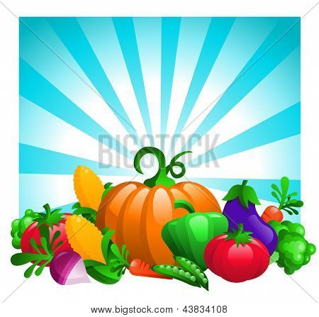 Glossy Vegetables on Bursting Background