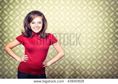 art portrait of young smiling ecstatic woman in room with vintage wallpaper, retro stylization 60-70s, toned