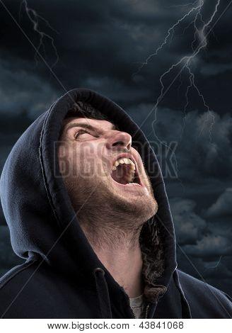 Despair bandit screaming to dark sky