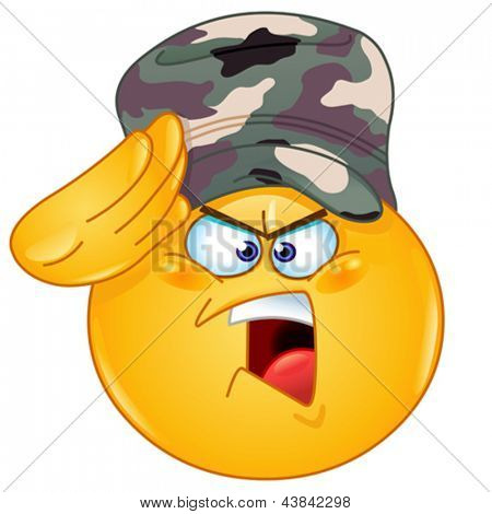 Soldier emoticon saluting saying yes sir
