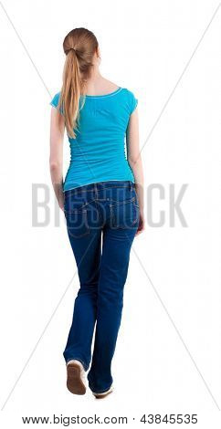 back view walking  woman beautiful blonde girl in motion. looking at something on top of the girl went off.  backside view of person.  Rear view people collection. Isolated over white background.