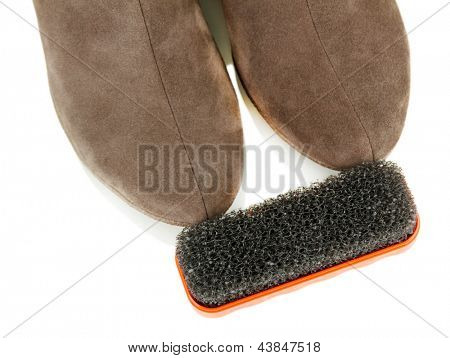 Brush for suede shoes, isolated on white
