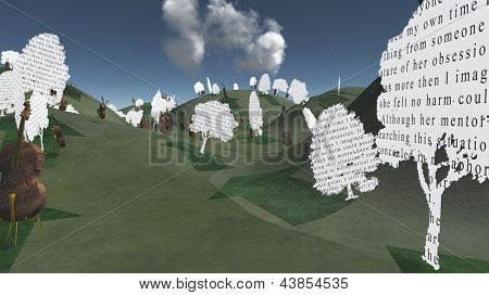 Paper trees with text and Cellos sit in hilly landscape Text is my own
