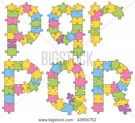 Vector set of puzzle jigsaw letters. All puzzle jigsaw has editable contour, so you can easily change the size of it