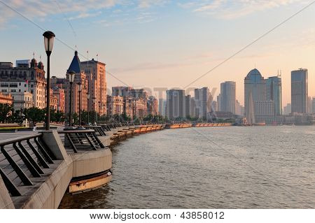 Shanghai Waitan district with historic buildings over river in the morning