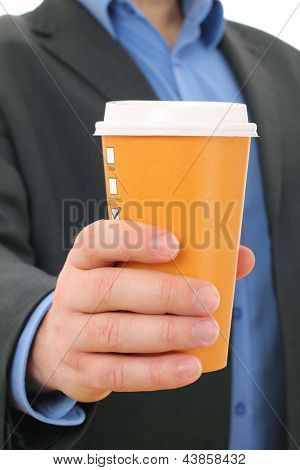 Businessman with paper coffee cup, take away
