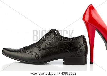 ladies shoes and men's shoes, symbolic photo for partnership and equality